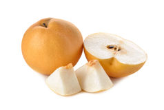 Snow pear or Fengsui pear on white Stock Photos
