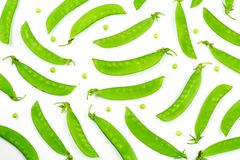 Snow peas or mange-tout, isolated on white background stock images