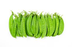 Snow peas or mange-tout, isolated on white background royalty free stock photos
