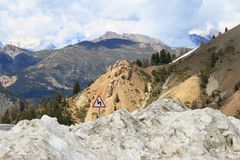 Snow piles near Col d`Izoard, French Queyras Natural Park royalty free stock photo