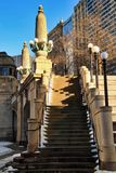 Snow piles on stairway leading up and away from the riverwalk in downtown Chicago Loop Stock Photography