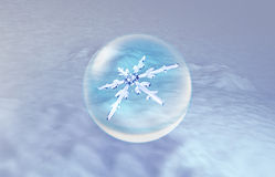 Snow place Christmas Snowflakes background. Snowflake in ice crystal ball background for Christmas celebration theme Stock Images