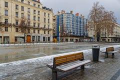 Snow on place de la Republique. LYON, FRANCE, March 1, 2018 : Place de la Republique, as a cold spell rages in all Europe and the Capital of Gallia is under the Stock Photos