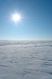 Snow plain illuminated sun Royalty Free Stock Images