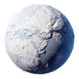 Snow Planet Earth. Winter planet earth - covered in snow and ice planet with a real detailed terrain, soft shadows and volumetric clouds on a white background Stock Photography