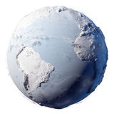 Snow Planet Earth. Winter planet Earth - covered in snow and ice planet with a real detailed terrain, soft shadows and volumetric clouds on a white background Royalty Free Stock Photo