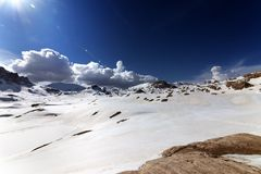 Snow plateau at nice day Royalty Free Stock Image