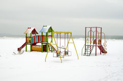 Snow playground on the beach in winter Stock Image
