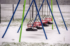 Snow in playground Royalty Free Stock Image