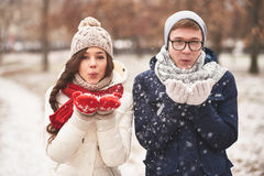 Snow playing Stock Photo