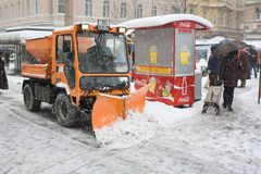 Snow plough. In Zagreb, on 19.12.2009 during the cold snowy day Royalty Free Stock Photo