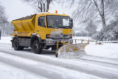 Snow plough. Cutting through snowfall on Brighton street Royalty Free Stock Images