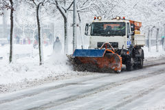 Snow plough cleaning the streets of Zagreb Stock Images