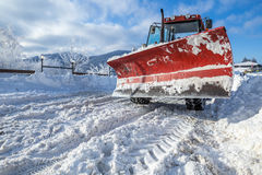 Snow plough heavy machine for road cleaning Stock Image
