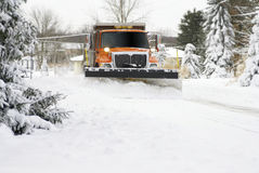 Snow Plow Approaching Stock Image