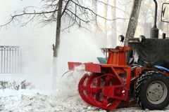 Snow plow clearing roadway Royalty Free Stock Photos