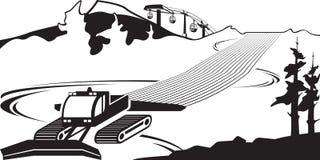 Snow plow clears slots on ski slope. Vector illustration stock illustration