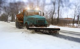 Snow plow doing Stock Image
