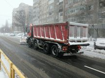Snow plow - heavy winter road traffic Royalty Free Stock Images