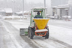 Snow plow removing snow Royalty Free Stock Photos
