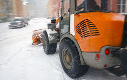 Snow plow for road cleaning Stock Photo