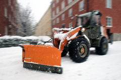 Snow plow for road cleaning Royalty Free Stock Images