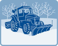 Snow plow tractor plowing stock illustration