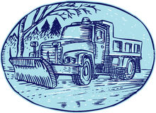 Snow Plow Truck Oval Etching stock illustration