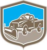 Snow Plow Truck Shield Retro vector illustration