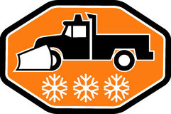 Snow plow truck with snowflake Royalty Free Stock Photos
