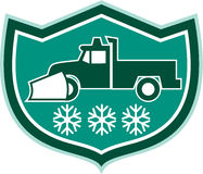 Snow Plow Truck Snowflakes Shield Retro Stock Photography