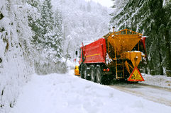 Snow plow truck in winter