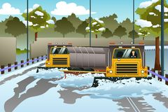 Snow Plow Trucks Clearing The Road From Snow. A vector illustration of Snow Plow Trucks Clearing The Road From Snow vector illustration