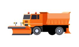 Snow plow utility truck. Minimalistic icon snow plow truck front side view. Utility snow removal vehicle. Vector isolated illustration. COE - cab over engine vector illustration