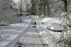 Snow Plowed Road Stock Photography