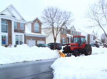 Snow Plowing on Street Stock Photo