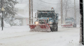 Snow Plows Doing Their Job Royalty Free Stock Photography