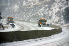 Snow Plows Keep The Road Open Royalty Free Stock Photos