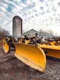 Snow plows. Snow plow dealership and repair shop Royalty Free Stock Photos