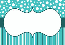 Snow Polka dots and stripes border frame Stock Photo