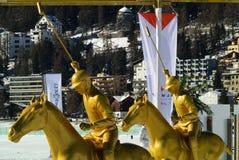 Snow Polo Statues Stock Photos