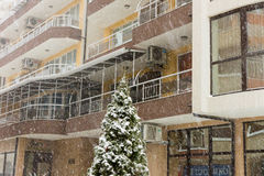 Snow in Pomorie, Bulgaria, Winter, January Royalty Free Stock Images
