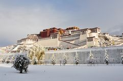The snow of Potala. The Potala, the traditional but deserted, residence of the Dalai Lama in Lhasa, Tibet, China. The photo was taken after snow on Apr.1,2010 Royalty Free Stock Images