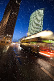 Snow at potsdamer platz Royalty Free Stock Image