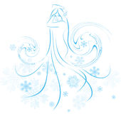 Snow princess. A drawing of a woman with a dress covered with snowflakes Royalty Free Stock Images