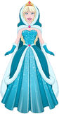Snow Princess In Blue Dress Cloak And Hood Stock Photos