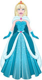 Snow Princess In Blue Dress And Cloak. Vector illustration of a snow princess queen in blue dress and cloak vector illustration