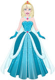 Snow Princess In Blue Dress Front Royalty Free Stock Photography