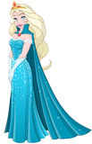 Snow Princess In Blue Dress Side. Vector illustration of a snow princess queen in blue dress and cape vector illustration