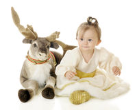 Snow Princess and Reindeer Stock Photo
